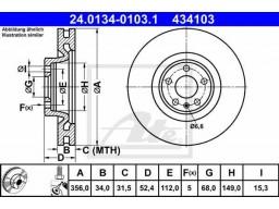 Brzdový kotúč ATE 24.0134-0103.1 (predný, 356 mm)