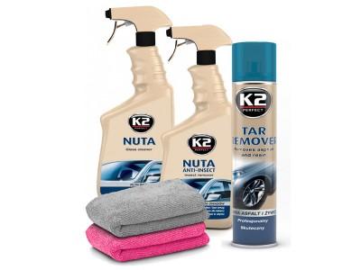 Sada K2 autokozmetiky (okno + hmyz + živica + mikrovlákno)